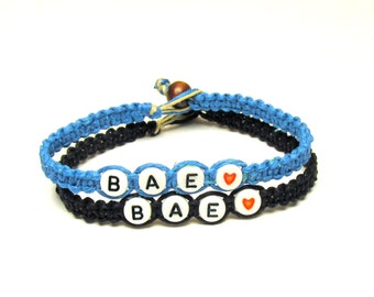 Couples or Friendship Bracelets, Set of Two, BAE, Before Anyone Else, Bright Blue and Black Hemp Jewelry, Black Friday Cyber Monday Sale