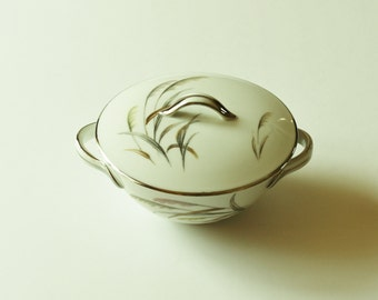 Vintage Wentworth China Pampas covered sugar bowl, Pampas wheat 7545, cottage chic décor, mid-century dishware