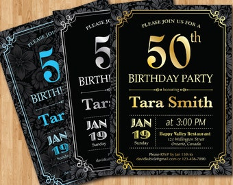 50th birthday party invitations for him
