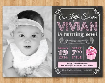 Girl Cupcake Birthday Invitation Chalkboard. 1st first birthday party invite with custom photo. Pink Cupcake Any age. Printable digital