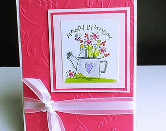 Happy Birthday Greeting Card Flower Birthday Card Pink Floral Birthday Card Handmade Birthday Card Greeting Card Embossed Birthday Card