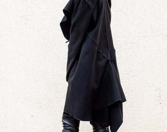 Black Asymmetric Coat / Cocoon Fit Winter Coat / Swing Shape Cashmere Coat TC01