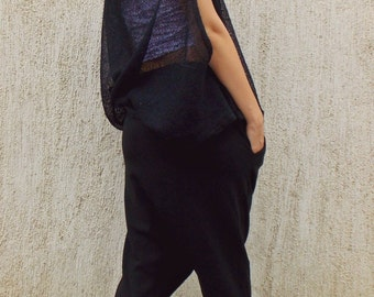 Teyxo Black Drop Crotch Pants / Acrylic Harem Pants / Asymmetrical Drop Crotch Pants TP03