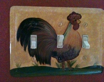 Handpainted Rooster Light Switchplate Cover