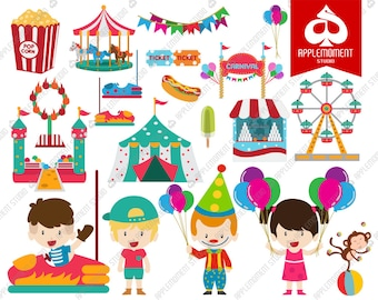 Carnival Kids Digital Clipart for Personal and Commercial Use