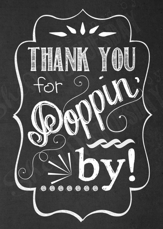 Thank You for Poppin' In Favor Tags - Shower Tags - Popcorn Favor Tag ...