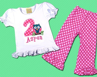 Girl's Birthday Outfit with Cutie Owl Shirt and Polka Dot Number with Dot Ruffle Pants - F26
