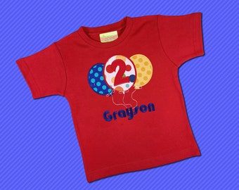 Boy Birthday Shirt with Balloons, Number and Embroidered Name