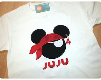 Boy's Birthday Shirt with Pirate Mouse, Number and Embroidered Name