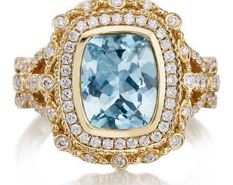 Aquamarine Engagement Ring 2.60ct Long Cushion Aquamarine Ring .71ct Diamond Victorian Halo Cocktail Ring Yellow Gold Pristine Custom Rings