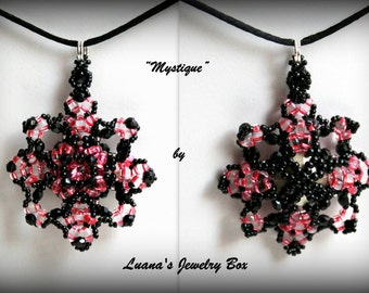 "Beadwork tutorial ""Mystique"". DIY Pendant with crystals and Superduo / Twin .pdf pattern"