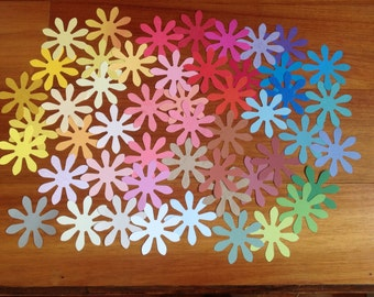 50 Flower die cuts, 3 inch Daisy die cuts, 3 inch die cuts, Daisy die cuts, multi coloured flower die cuts, destash