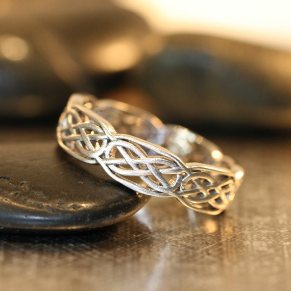items similar to celtic wedding band 14k white gold unique