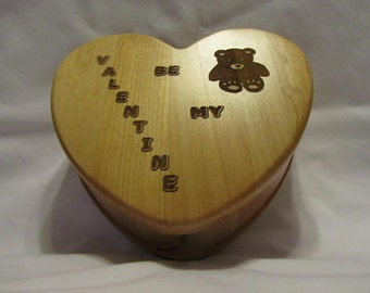 Personalized Heart Keepsake Box Custom Engraved- Be My Valentine