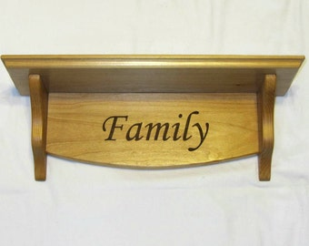 Personalized Hanging Wooden Shelf- Small Custom Engraved