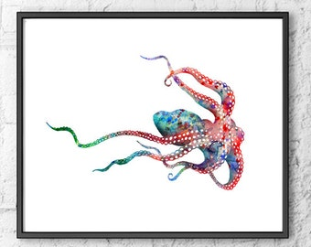 Watercolor Painting Octopus - Nautical Art Print - Sea Wall Art - 143