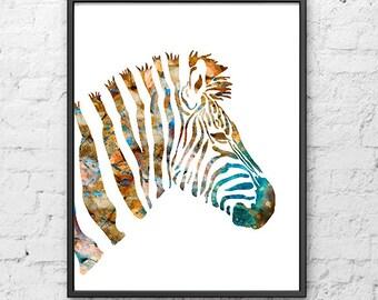 Zebra watercolor print nursery animal art watercolor giclee art print, animal wall art - 272