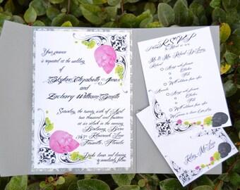 Skull and roses Wedding Invitation Set