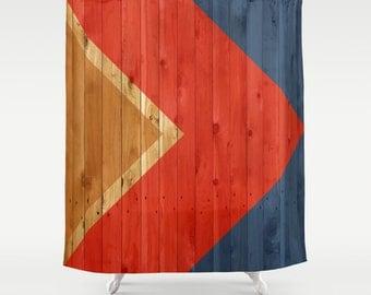 Woodgrain Color Block Shower Curtain