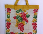Mid-Century Vintage Linen Upcycled Tote with Red Grapes, Green Fruit & Gold Leaves