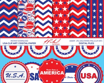 USA Digital Paper and Clip Art - United States of America Digital Paper Pack and Clipart - 4th of July / Memorial Day / Veterans Day