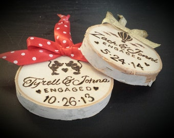 Personalized Burnt Birch Engagement Ornaments