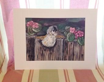ORIGINAL Fledgling and Geraniums Watercolor Painting