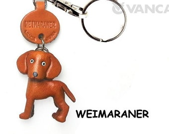 Weimaraner 3D Leather Dog Keychain Keyring Purse Charm Zipper pull Accessory *VANCA* Made in Japan #56789  Free Shipping