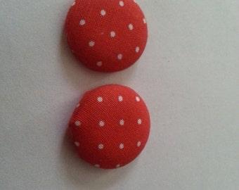 Red Polka Dot Earrings- Red Polka Dots- Red Polka Dot Fabric Earrings- Fabric Earrings- Button Earrings- Earrings
