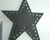 Primitive Punched Star - Rustic Ornament with Jute Hanger - Hand Punched / Powder Coat Finish / Recycled Tin / Country Decor / Rustic Decor
