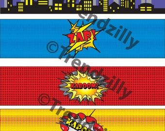 Superhero Water Bottle Labels, Comic Book Lables, Party Supplies, Superhero Birthday, Comic Book Birthday, Printable Instant download.