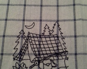 Tent Camping, Hand Stitched Dish Towel