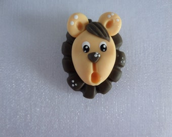 Set of 3 Lions . Clay Charm Bead, Scrapbooking, Bow Center, Pendant, Cupcake topper, Magnet