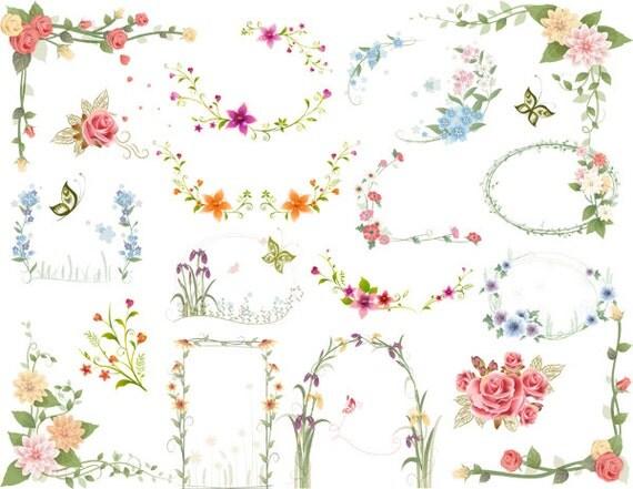 Download immediato: Digtal floreale cornici Clip Art fiore
