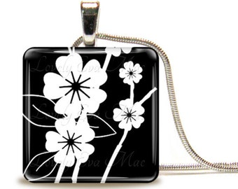 Black & White Floral, Glass Tile Necklace, Glass Tile Pendant, Glass Cabochon, Ready to Ship