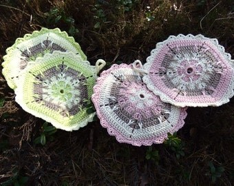 Hand Crochet Pot Holder, thick, double cloths, Hotpad, multicolor