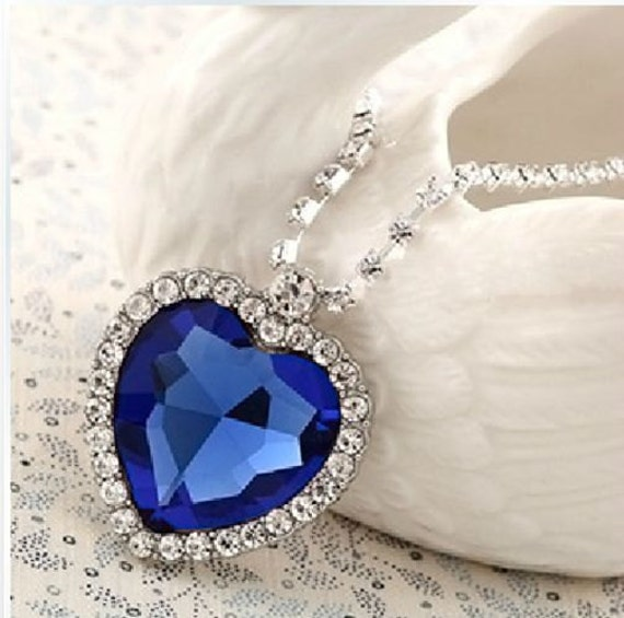 Titanic Heart Of The Ocean Necklace CZ Pendant Sapphire Blue Crystal & Czech Crystal