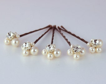 Bridal bobby pins Wedding hairpiece 5 hair Pins Swarovski pearl bridal accessories Rhinestone bobby pin