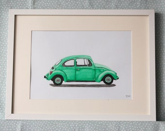 Vw Beetle art, volkswagen bug, classic car art, original watercolor.