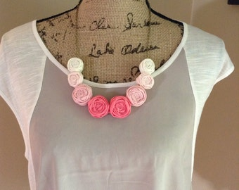 Junior PINK Ombré  Rolled Fabric Rosie Posie Necklace & Earrings Set