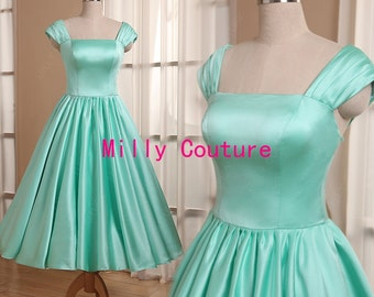 Mint green 1950s bridesmaid dress, cap sleeved tea length bridesmaid dresses,  short bridesmaid dresses, vintage bridesmaid dresses