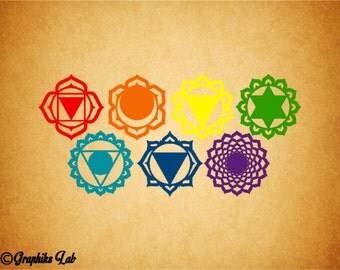 Chakra 7 Decal Set Path to Enlightenment Chakra 7 Decal Set Vinyl Decal Sticker