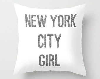 New York City Girl Velvet Pillow Cover, New York City Decor, Girls Pillows, Teen Girl Room Decor, Dorm Pillows, Girls Bedroom, Gift for Her