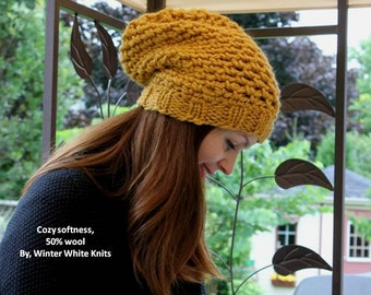 Knit hat, THE WINSOME HAT, slouchy beanie hat in mustard yellow color, many colors available, knit beanie hat, slouchy beanie, cozy softness