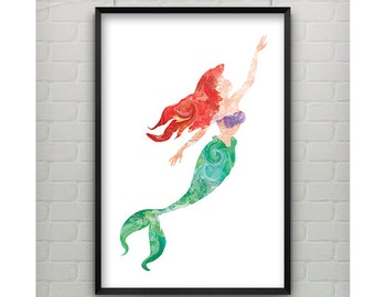 Litttle Mermaid Print - Little Mermaid 11x17 Print - Water Color Inspired Art Ariel from The Little Mermaid Poster Print