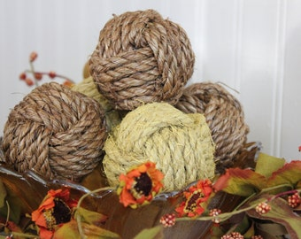 Yellow bowl fillers - rope knot balls - monkey fist knots - rustic yellow vase filler - rustic summer decor