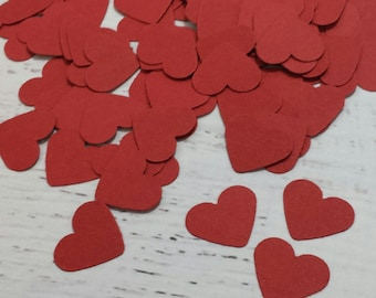 Red Paper Hearts - Heart Confetti - Red Wedding - Valentines Day Party Decor