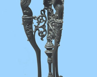 """Tiffany Studios Bronze Base with Mythological Figures as Legs A Most Unusual 18"""" Lamp Base"""