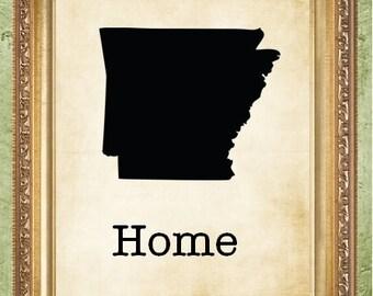 Arkansas Home State Wall Decor Wedding Gift United States Wall Art Print Home State Print