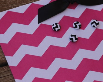 "Bulletin Board Magnet Board (18"" x 12"") Hot Pink Chevron, Memo board, Teens & Tweens, Girls Room, Photo Display, Magnetic Bulletin Board"